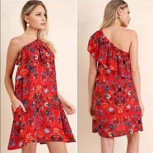 UMGEE Red Floral One Shoulder Ruffle Dress Sz S